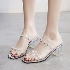 Artiz - Faux Pearl Transparent Chunky Heel Slide Sandals