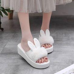 MANMANNI - Rabbit Ear Platform Slide Sandals
