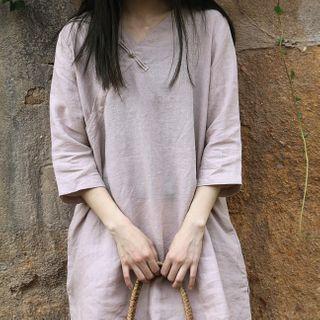 Tempoleau - Elbow-Sleeve Mandarin Collar Blouse