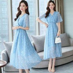 Tanzil - Short-Sleeve Midi Chiffon Dress