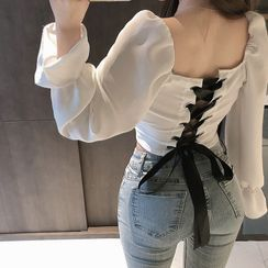Ginger Girl - 长袖荷叶边后系带短款衬衫