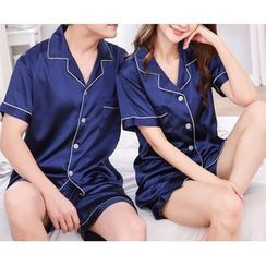 Voomer - Couple Matching Pajama Set: Short-Sleeve Shirt + Shorts