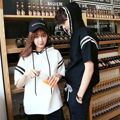 CASSY - Couple Matching Stripe Short-Sleeve Hoodie