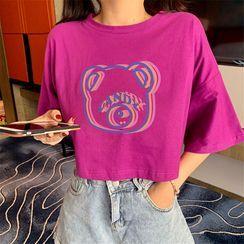 Honey River - Bear Print Short-Sleeve T-Shirt