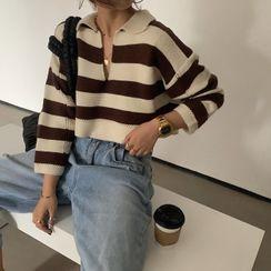 Moss Studio - Striped Collared Sweater