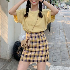 monroll - Crew-Neck Short-Sleeve T-Shirt / Plaid Mini A-Line Skirt