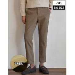 GERIO - Band-Waist Napped Straight-Cut Pants