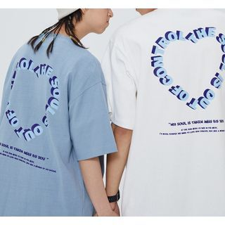 Palmstruck - Short Sleeve Heart Print Couple Matching Tee