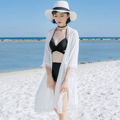 Tefiti - 蕾丝边沙滩罩衫