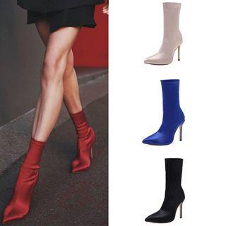 Niuna - Pointy Toe High Heel Short Sock Boots
