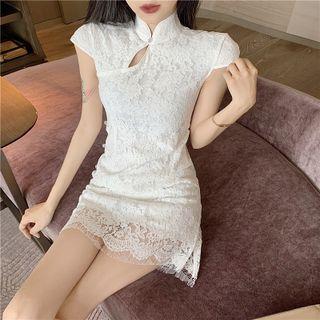 Maine - Short-Sleeve Lace Mini Qipao Dress