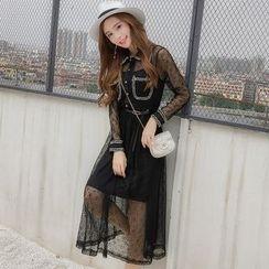 Ashlee - 套装: 吊带裙 + 长袖蕾丝连衣中裙