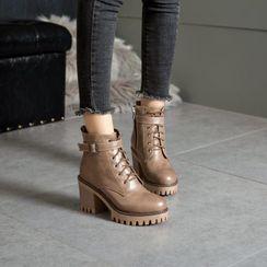 佳美 - 厚底系带短靴