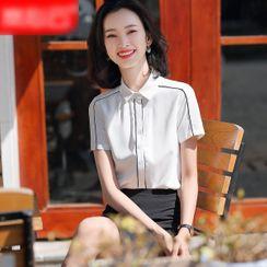 Skyheart - Short-Sleeve Shirt / Midi A-line Skirt / Set