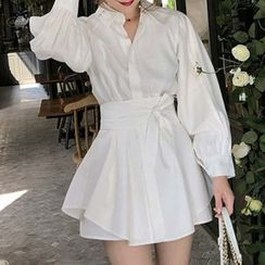 Apotheosis - Gather Waist Long Sleeve Mini A-Line Shirtdress