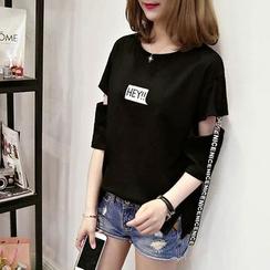 Arroba - Slit-Sleeve Strappy T-Shirt