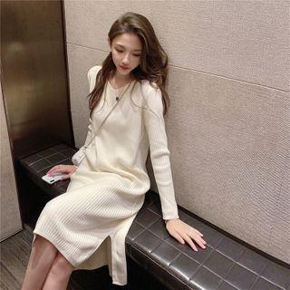 Fabflower - 長袖開衩A字針織連衣中裙