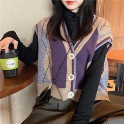 Whoosh - Argyle Cropped Buttoned Knit Vest / Turtleneck Long-Sleeve Top