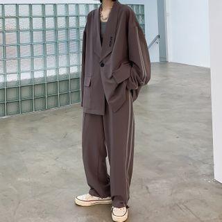 VEAZ - Set: Striped Trim Loose-Fit Blazer + Pants