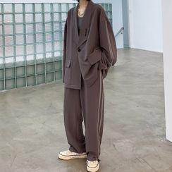 VEAZ - 套装:条纹边宽松西装外套 + 裤