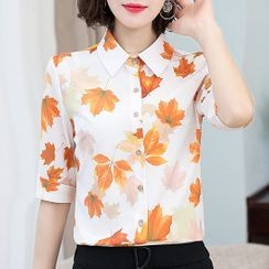 In the Mood - Elbow-Sleeve Floral Print Chiffon Shirt