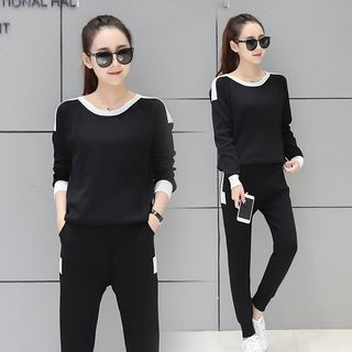 Sienne - Set: Long-Sleeve Two-Tone Knit Pullover + Pants