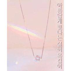 Miss21 Korea - Rhinestone Cube Pendant Silver Necklace