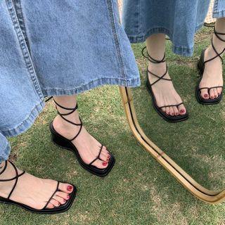 Parfaye - Lace-Up Wedge Heel Sandals
