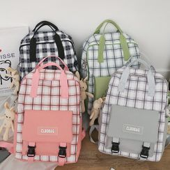 Mini Mia - Set: Plaid Backpack + Tote Bag + Pencil Case + Pouch + Bag Charm