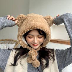 Lots2luv - Bear Ear Furry Bonnet Hat