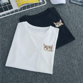 Ukiyo - Couple Matching Elbow-Sleeve Cat Embroidery T-Shirt