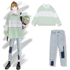 Pisang - Printed Collared Long-Sleeve T-Shirt / Applique Cropped Skinny Jeans