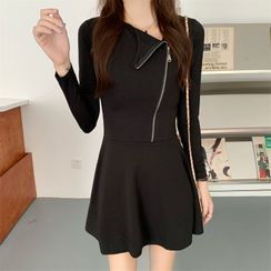 Meracule - Skew Neckline Long-Sleeve Mini A-Line Dress
