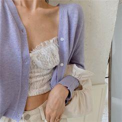 MISS YOYO - Plain V-Neck Cropped Cardigan