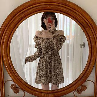 icecream12 - Two-Way Puff-Sleeve Mini Floral Dress