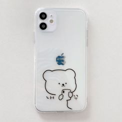 Aion - Bear Print Transparent Phone Case - iPhone 12 Pro Max / 12 Pro / 12 / 12 mini / 11 Pro Max / 11 Pro / 11 / SE / XS Max / XS / XR / X / SE 2 / 8 / 8 Plus / 7 / 7 Plus