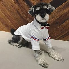 QUBET - Bow Striped Accent Shirt Pet Top