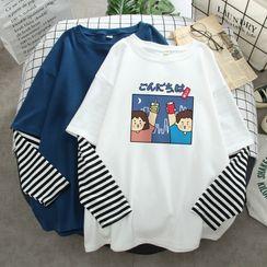 Najima - Long-Sleeve Mock Two-Piece Print T-Shirt
