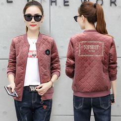 Coolmuse - Velvet Embroidered Bomber Jacket