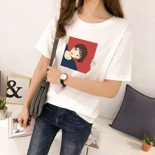 Carmenta - Short-Sleeve Cartoon Printed T-Shirt