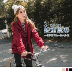 OrangeBear - 防风防水科技保暖羽绒棉长版风衣外套