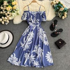 Lucuna - Flower Print Cold-Shoulder A-Line Sundress