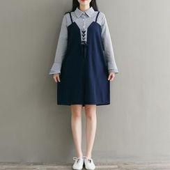 Clover Dream - Striped Long-Sleeve Mock Two-Piece Dress