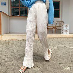 DEEPNY - Slit-Side Crinkled Boot-Cut Pants