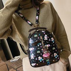 Santaka - Bear Charm Bear Print Convertible Faux Leather Backpack