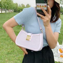 MISS RETRO - Buckled Patterned Panel Shoulder Bag