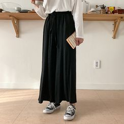 MERONGSHOP - Drawstring-Waist Wide-Leg Pants
