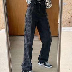 Dear Yours - 图案宽腿牛仔裤