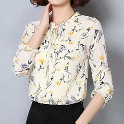 Cottony - Langärmlige Chiffon-Bluse mit Blumen-Print