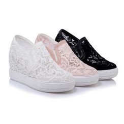 Megan(ミーガン) - Platform Hidden-Wedge Lace Slip-Ons
